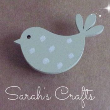 Hand Painted Pin Brooch - Bird (Sage)