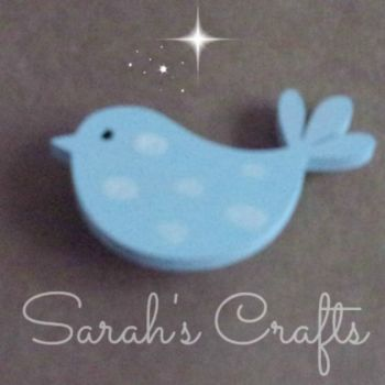 Hand Painted Pin Brooch - Bird (Blue)