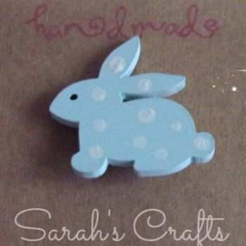 Hand Painted Pin Brooch - Bunny (Blue)