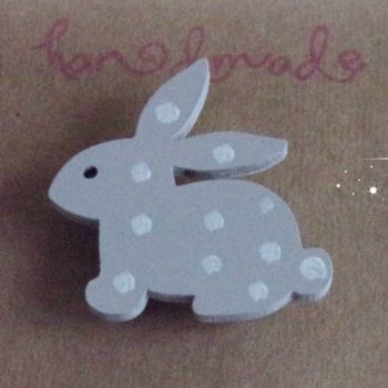 Hand Painted Pin Brooch - Bunny (Dove Grey)