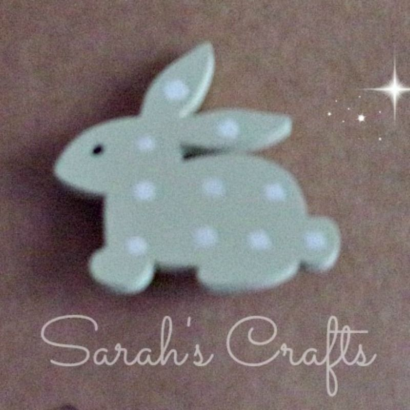 Hand Painted Pin Brooch - Bunny (Sage)
