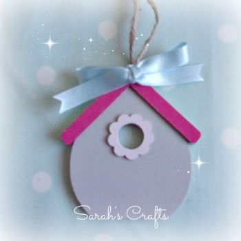 Hand Painted Bird House - Grey & Pink
