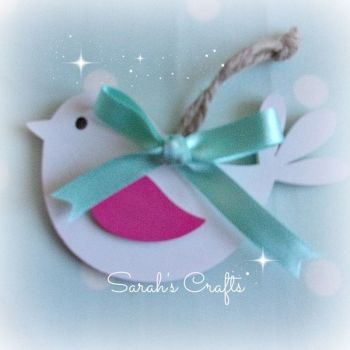 Hand Painted Bird (Ivory & Pink)