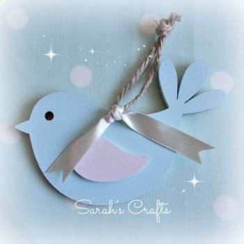 Hand Painted Bird (Blue & Pale Pink)