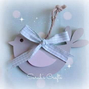 Hand Painted Bird (Grey & Pale Pink)
