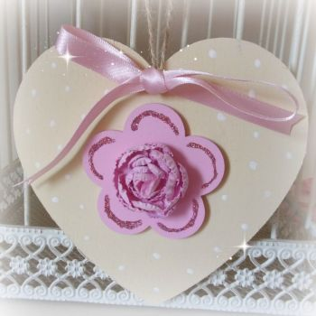 Hand Painted Hanging Heart (Buttermilk & Pink)