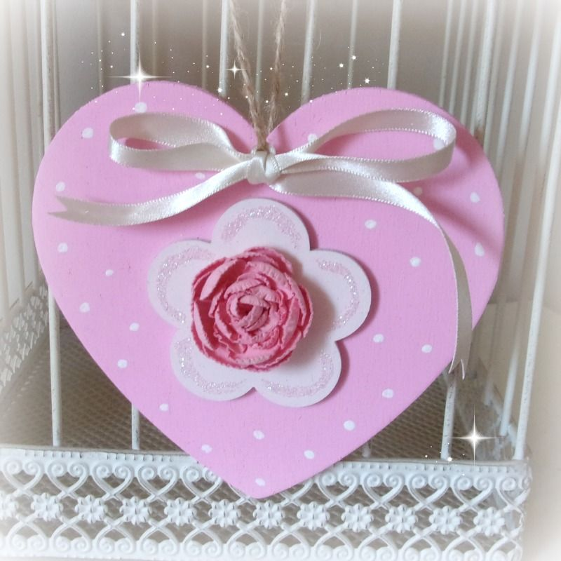 Hand Painted Hanging Heart (Candy & Pale Pink)