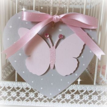 Hand Painted Hanging Heart with Butterfly (Dove Grey & Pale Pink)
