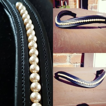 Light Gold Swarovski Pearl channel browband
