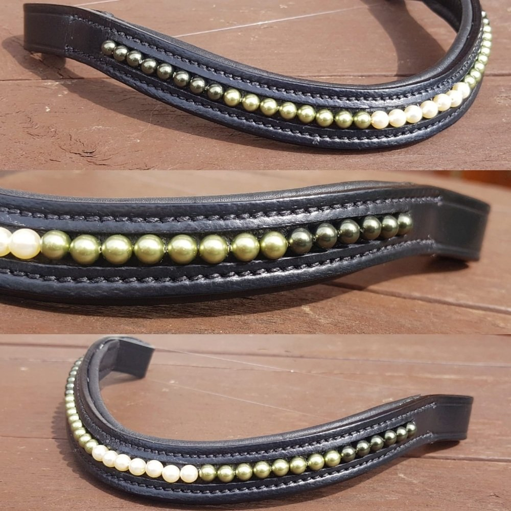 Olive Green ombre Pearl Browband