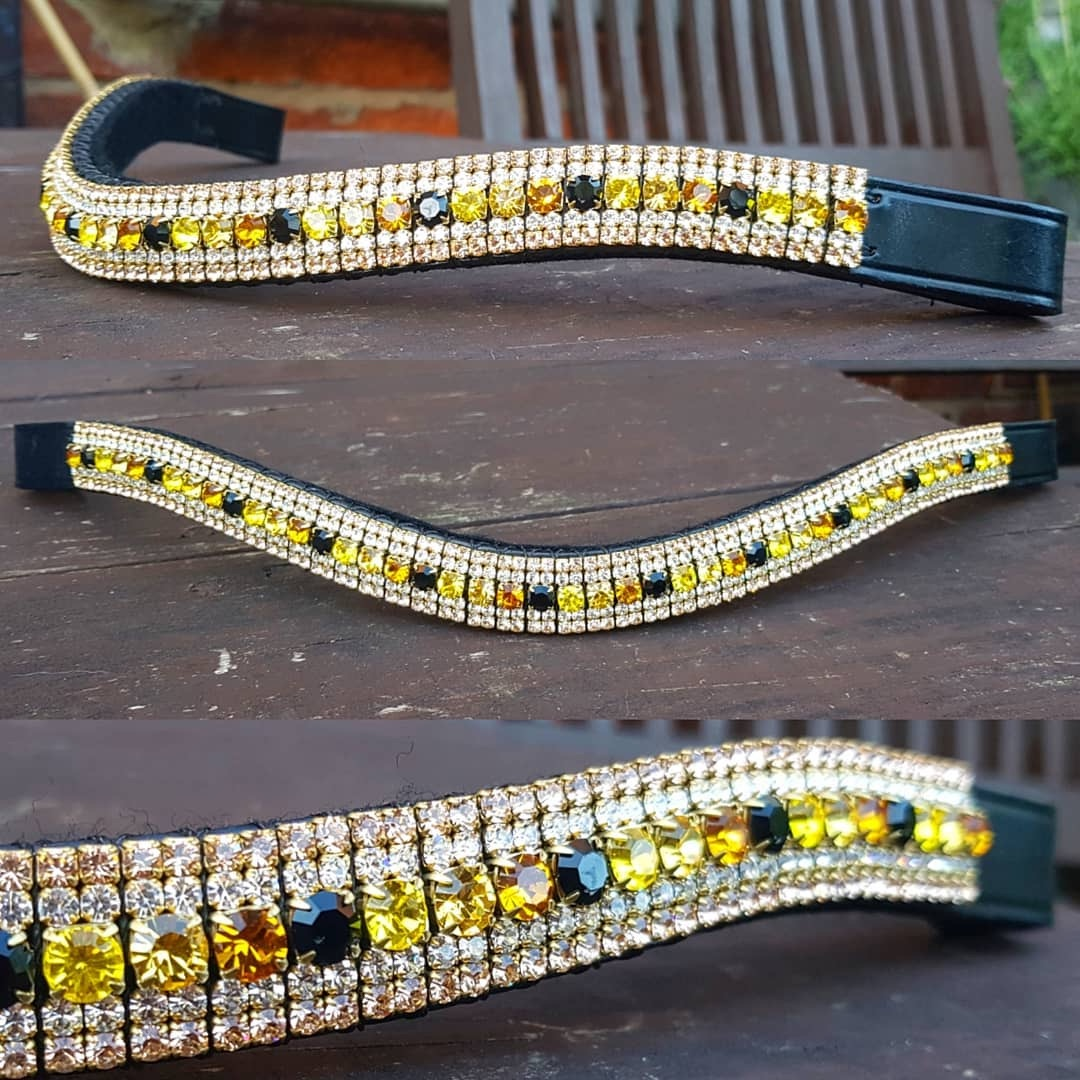Yellow, Black & gold Crystal Browband