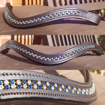 Capri Blue & Crystal Double Row Channel Browband