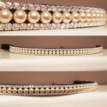 Light Gold Swarovski pearl & Crystal Browband 3 row