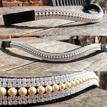 Light Gold Swarovski pearl & Crystal Browband 5 row