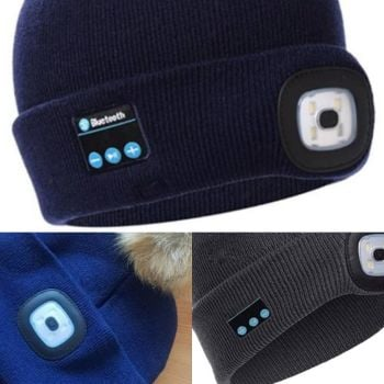 LED bobble hat with built in bluetooth headphones