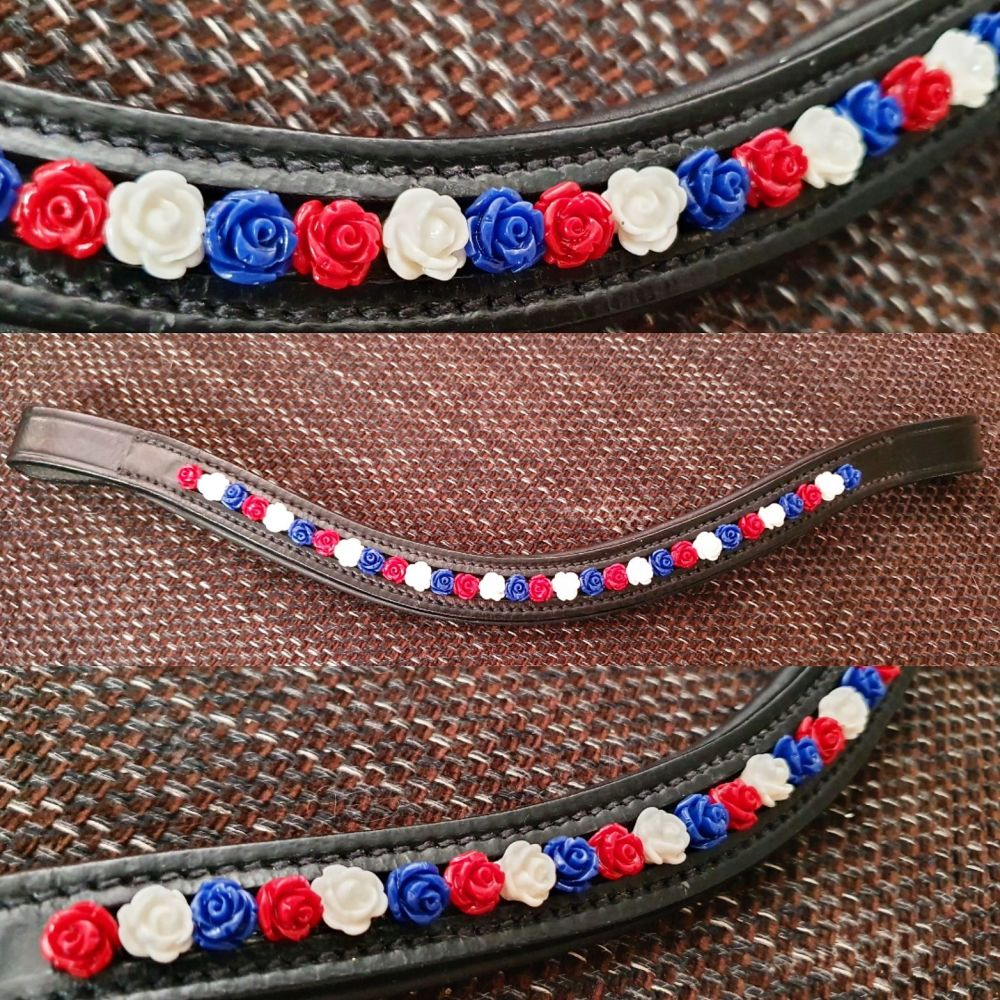 Beautiful in Red, White and Blue Roses Browband