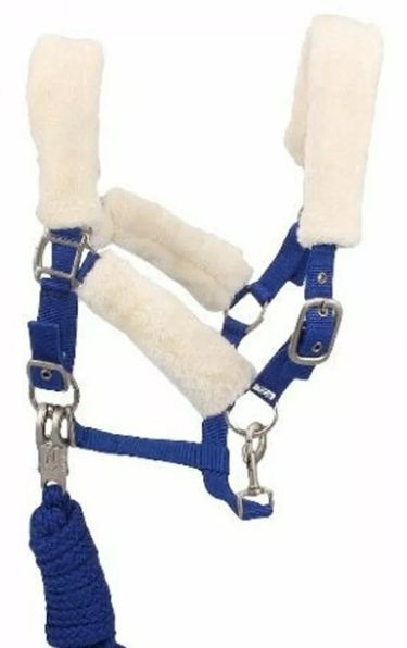 Fluffy padded headcollar and leadrope set