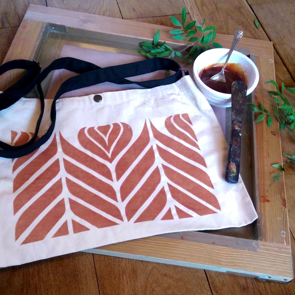 Screen printing with natural botanical inks