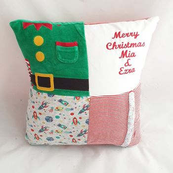 Patchwork Christmas keepsake cushion