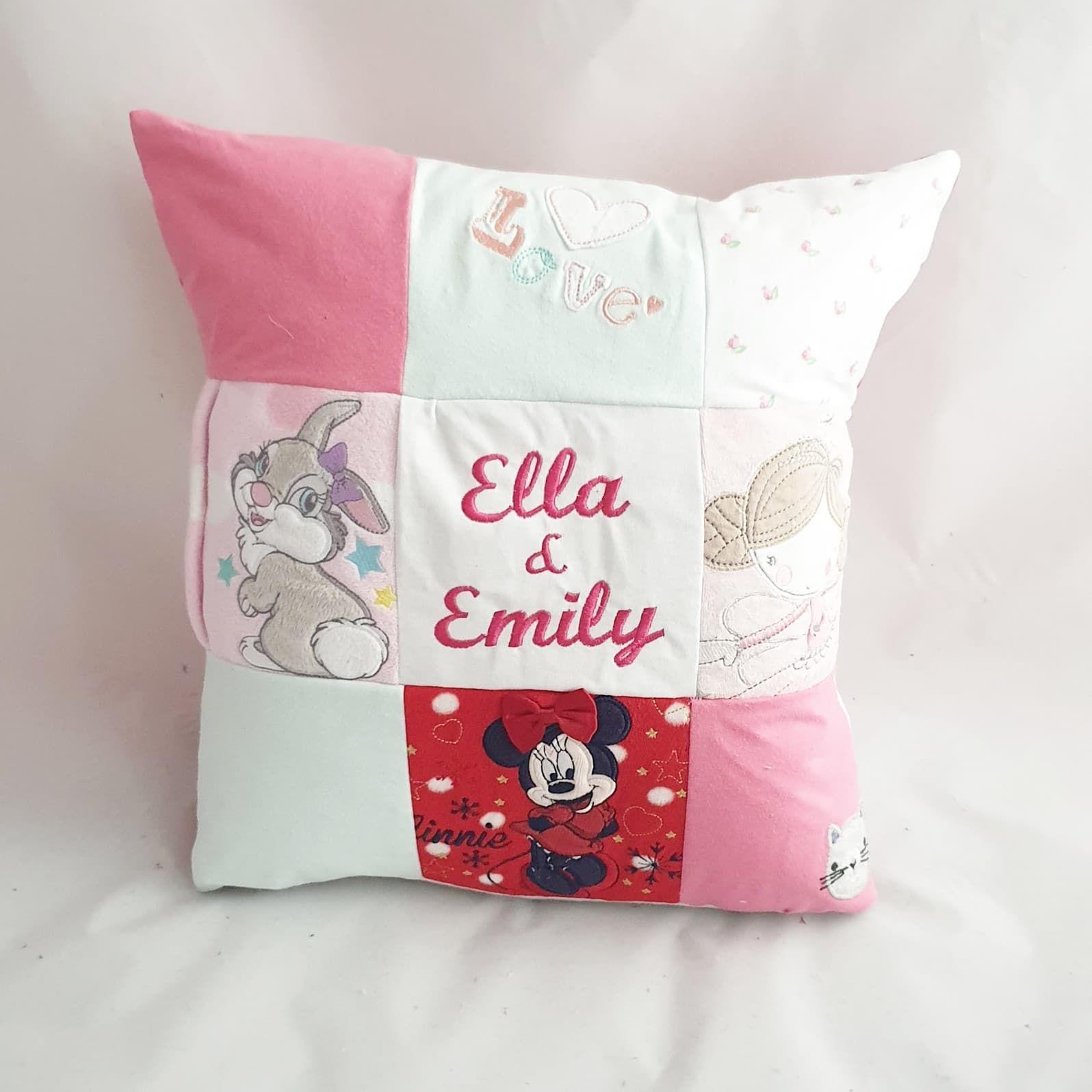 patchwork memorial pillow
