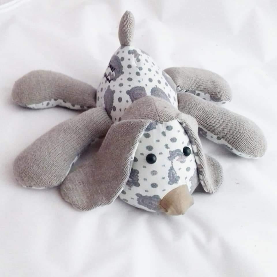 keepsake bear, dog made from cllothes