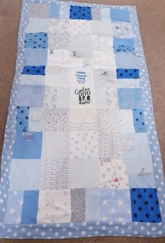 Memory blanket made from baby clothes