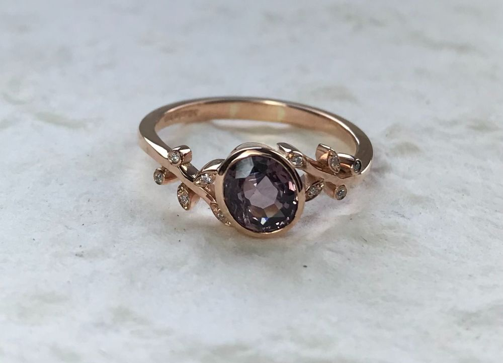 Purple spinel and Diamond ring.