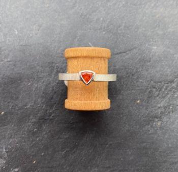 Silver. Garnet ring.