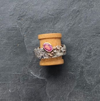 Silver and 9ct gold. Pink Sapphire and Diamond ring.