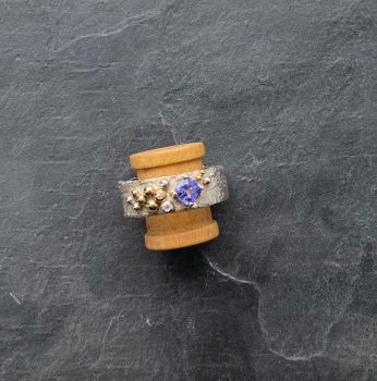 Silver and 9ct gold. Tanzanite and diamond ring.