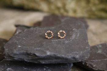 Rose gold twist stud earrings