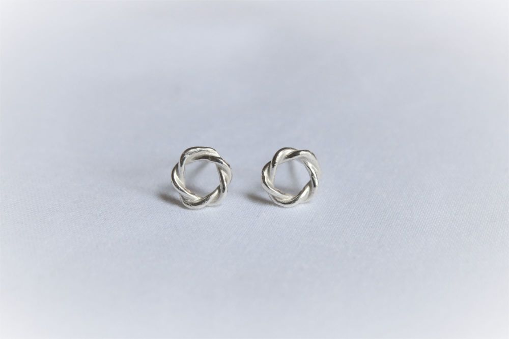 Sterling silver twist stud earrings