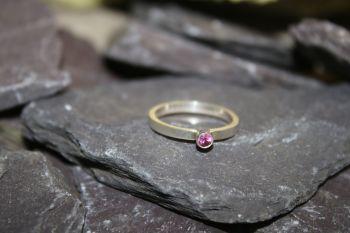 Rhodolite garnet, silver ring.