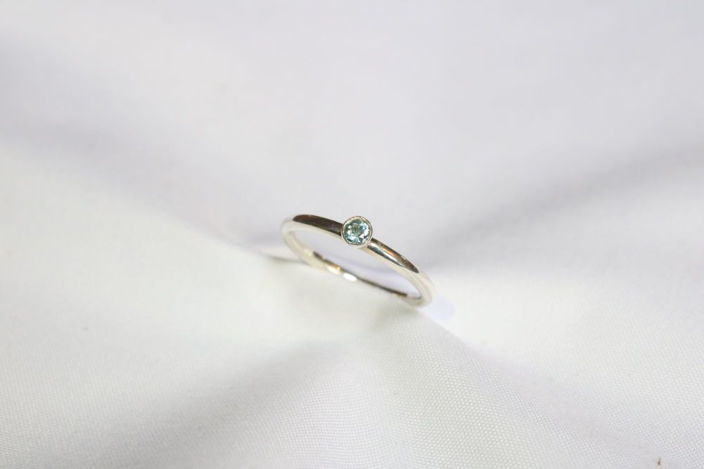 Aquamarine, silver ring.