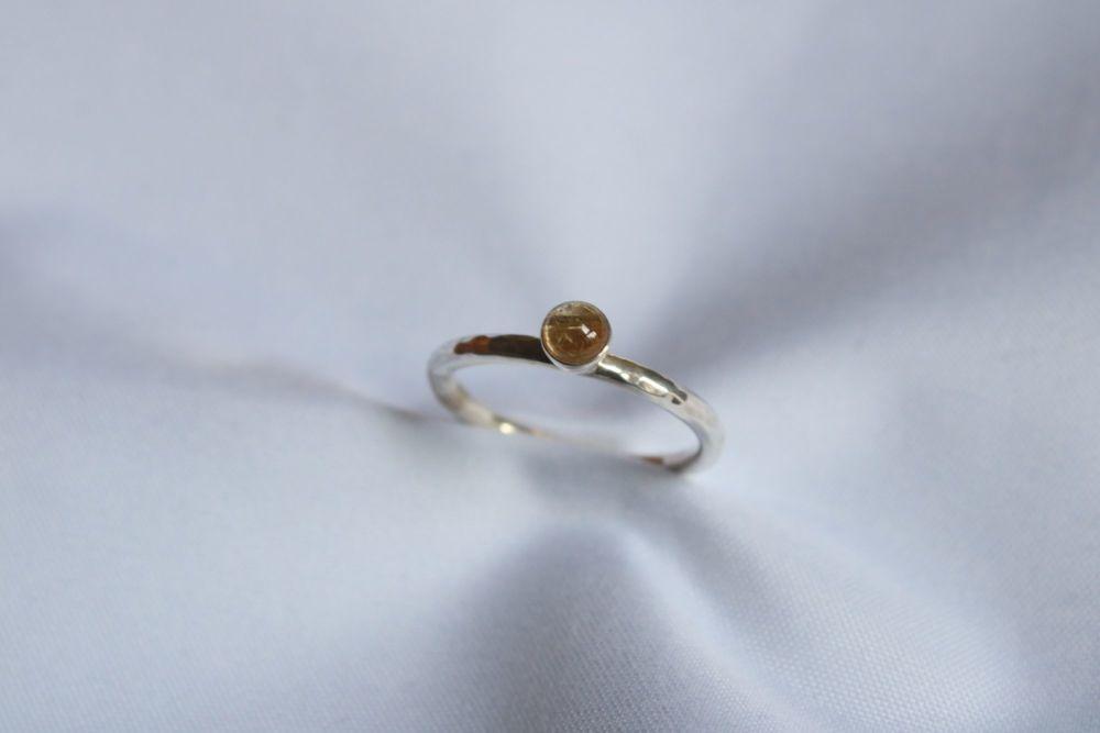Rutile quartz, silver ring