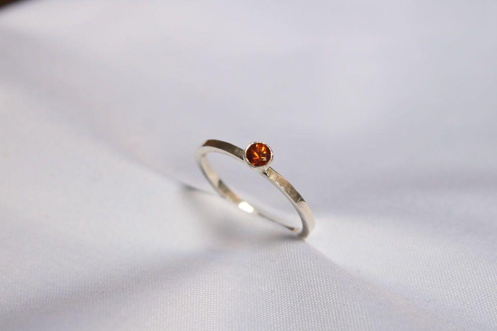 Hessonite garnet, silver ring