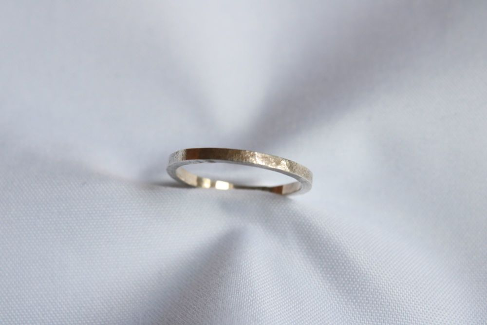 Silver planished ring