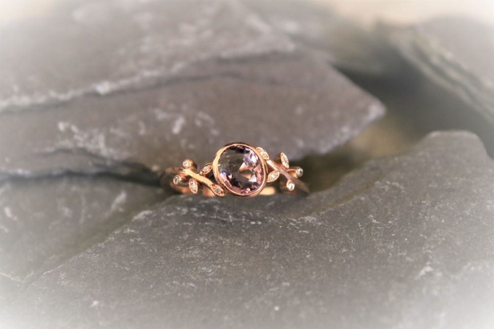 9ct rose gold, Purple spinel and Diamond ring.