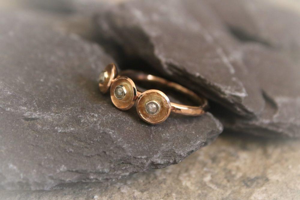 9ct gold. Three Stone Diamond Ring