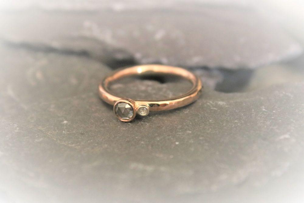 9ct gold. Two Stone Diamond Ring