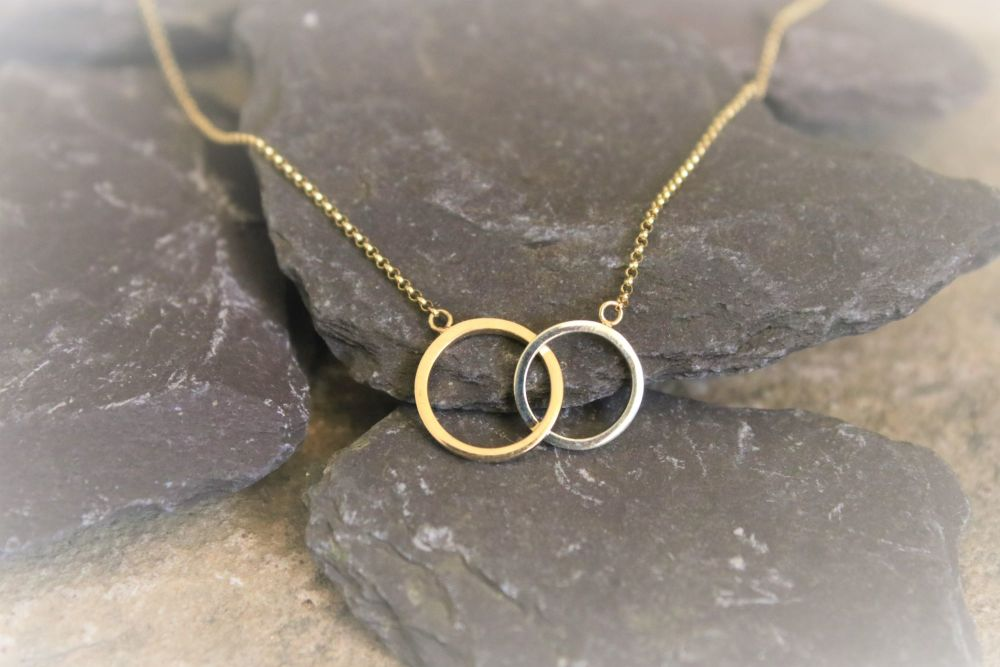 9ct yellow and white gold ring necklace