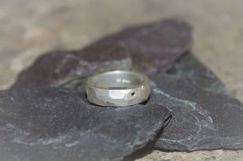 Silver & black diamond ring