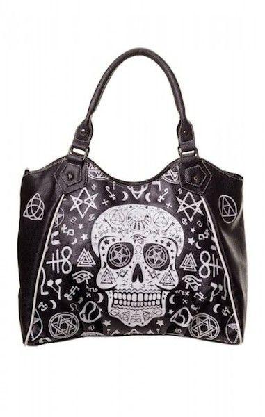 Black Skull Pentagram HandBag LARGE