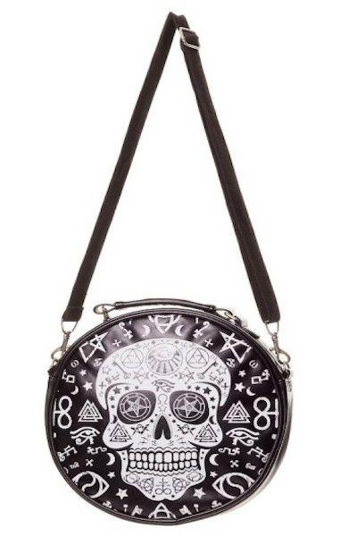Black Skull Pentagram Round Bag