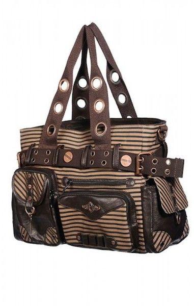 Brown Stripe Steampunk Bag