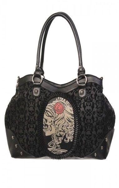 Flocked Cameo Lady Skull Bag