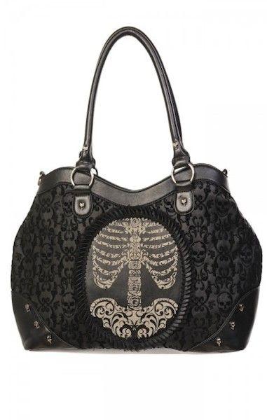 Flocked Cameo Ribcage Handbag
