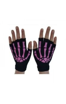 BGS Fingerless Gloves- Black and Pink