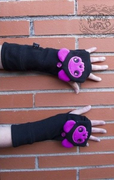 Purple Cat Paw Long Gloves