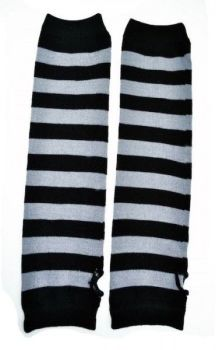 Stripe Armwarmers- Black and Grey